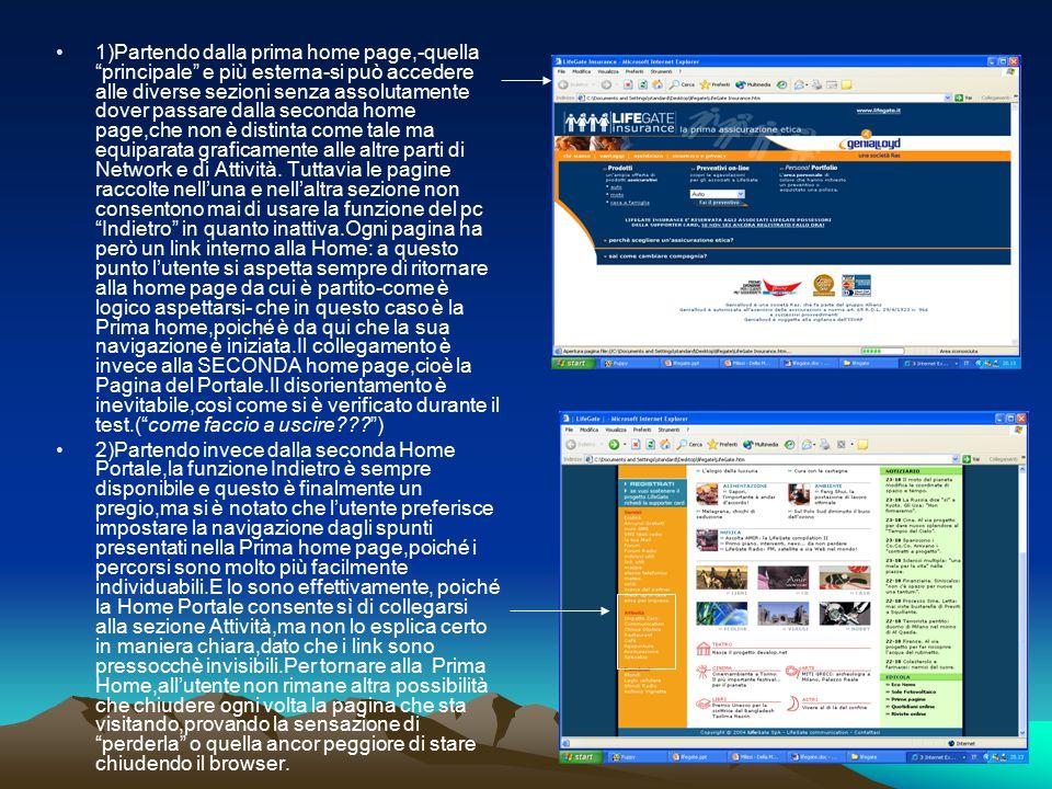 """1)Partendo dalla prima home page,-quella """"principale"""" e più esterna-si può accedere alle diverse sezioni senza assolutamente dover passare dalla secon"""