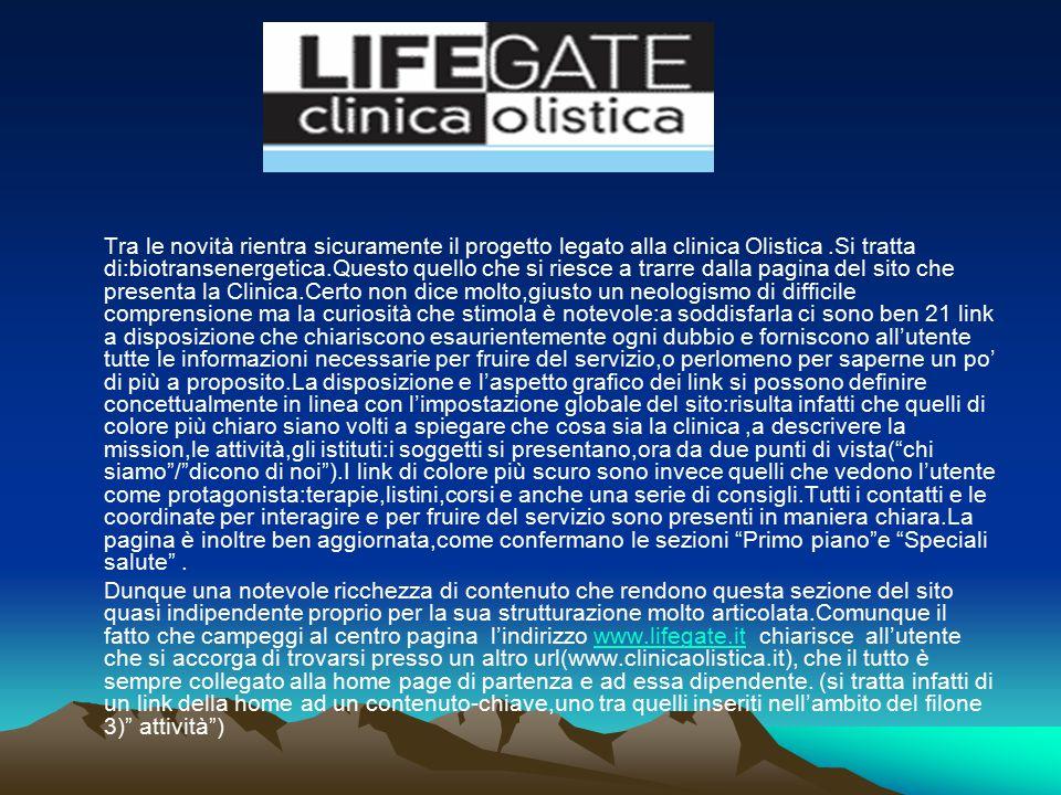 Tra le novità rientra sicuramente il progetto legato alla clinica Olistica.Si tratta di:biotransenergetica.Questo quello che si riesce a trarre dalla