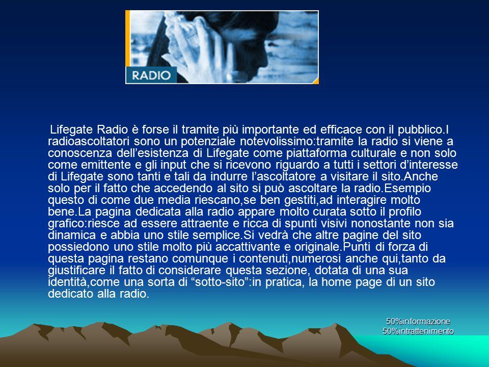 50%informazione 50%intrattenimento Lifegate Radio è forse il tramite più importante ed efficace con il pubblico.I radioascoltatori sono un potenziale