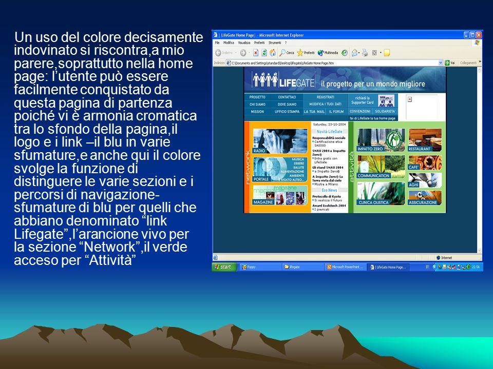 Un uso del colore decisamente indovinato si riscontra,a mio parere,soprattutto nella home page: l'utente può essere facilmente conquistato da questa p