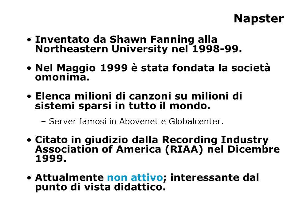Protocollo Napster (1) Vi sono tre entità fondamentali in Napster.