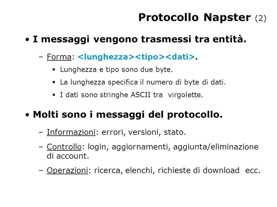 Protocollo Napster (3) Il software ufficiale gira su Windows.