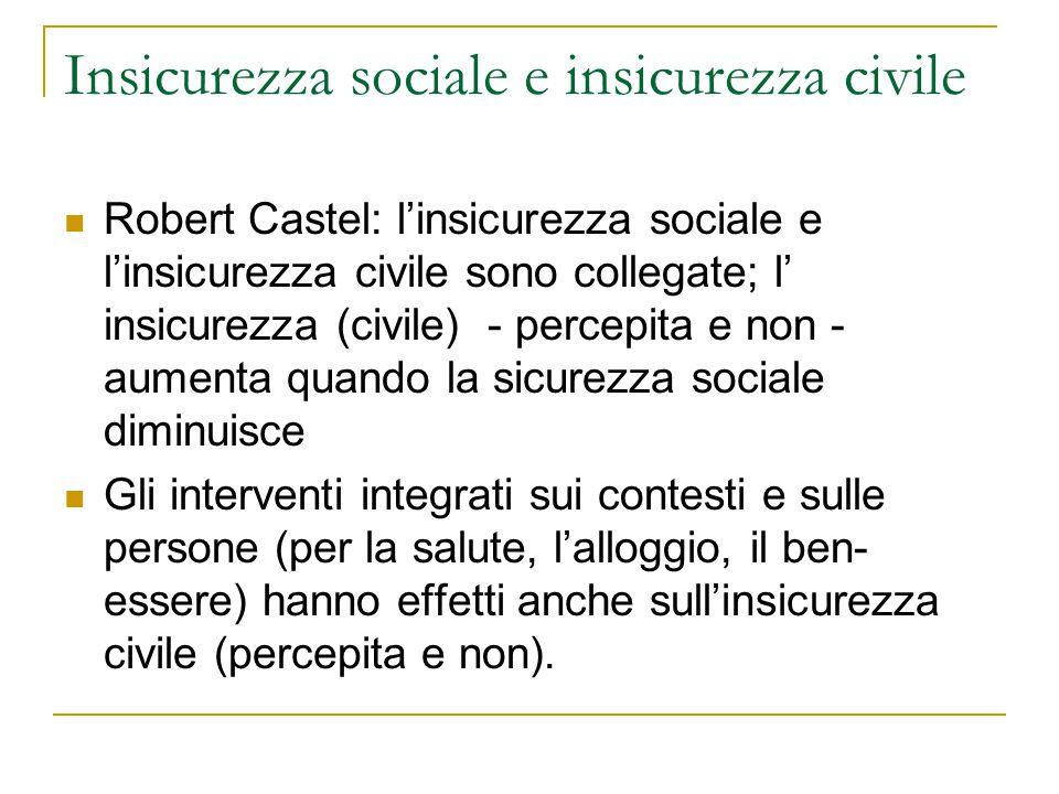 Insicurezza sociale e insicurezza civile Robert Castel: l'insicurezza sociale e l'insicurezza civile sono collegate; l' insicurezza (civile) - percepi