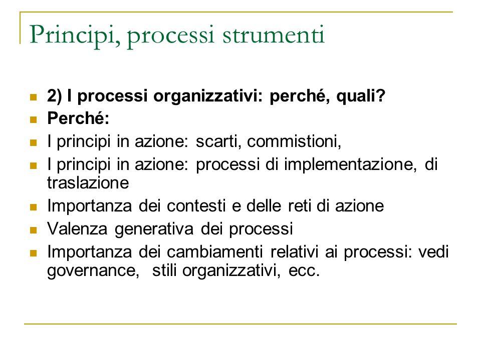 Principi, processi strumenti 2) I processi organizzativi: perché, quali? Perché: I principi in azione: scarti, commistioni, I principi in azione: proc