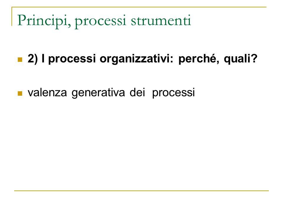 Principi, processi strumenti 2) I processi organizzativi: perché, quali? valenza generativa dei processi