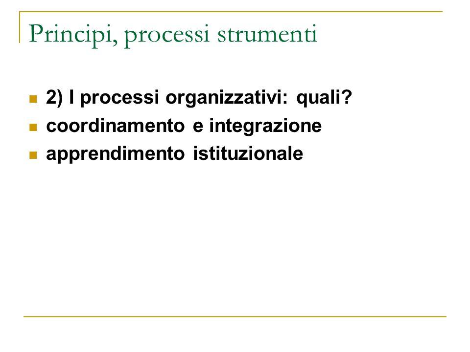 Principi, processi strumenti 2) I processi organizzativi: quali? coordinamento e integrazione apprendimento istituzionale