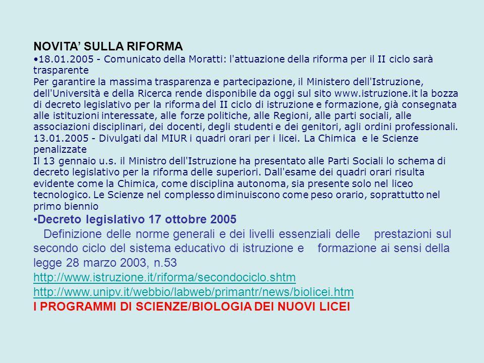 NOVITA' SULLA RIFORMA 18.01.2005 - Comunicato della Moratti: l'attuazione della riforma per il II ciclo sarà trasparente Per garantire la massima tras