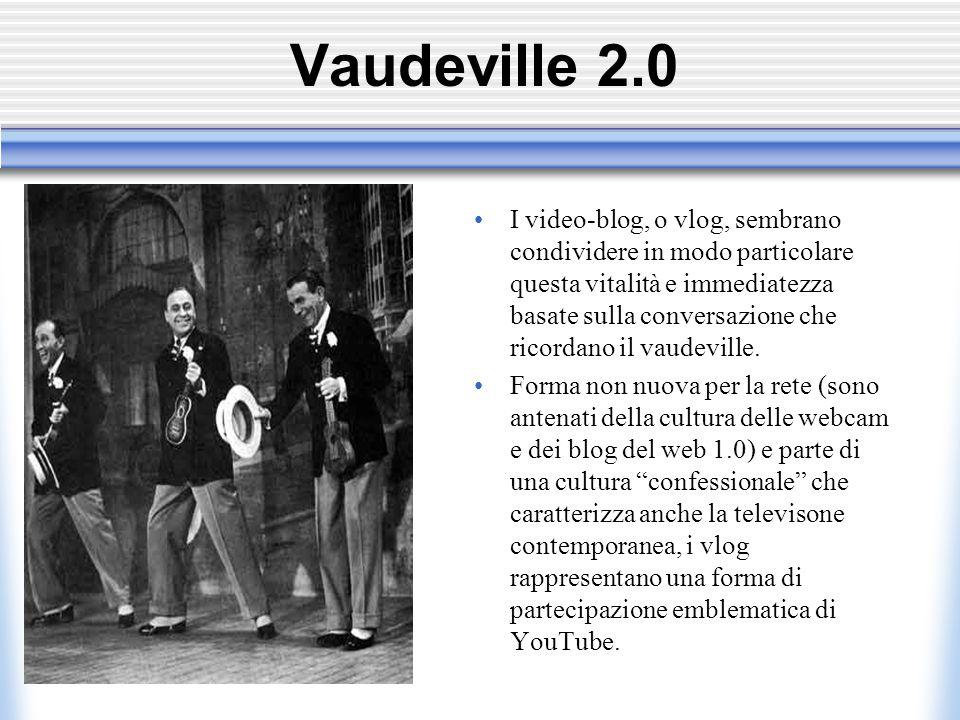 Vaudeville 2.0 I video-blog, o vlog, sembrano condividere in modo particolare questa vitalità e immediatezza basate sulla conversazione che ricordano il vaudeville.