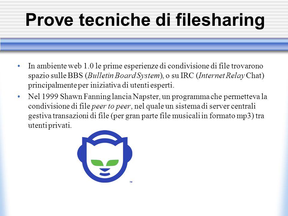 Prove tecniche di filesharing In ambiente web 1.0 le prime esperienze di condivisione di file trovarono spazio sulle BBS (Bulletin Board System), o su IRC (Internet Relay Chat) principalmente per iniziativa di utenti esperti.