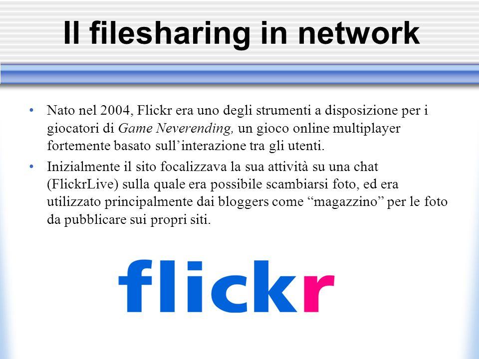 Il filesharing in network Nato nel 2004, Flickr era uno degli strumenti a disposizione per i giocatori di Game Neverending, un gioco online multiplayer fortemente basato sull'interazione tra gli utenti.