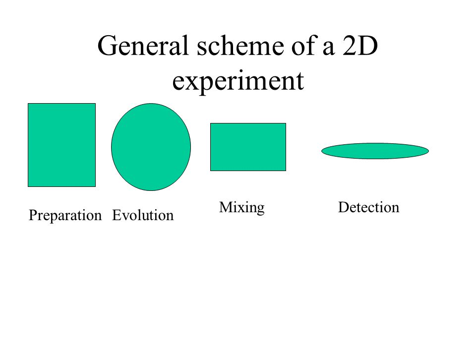 General scheme of a 2D experiment PreparationEvolution MixingDetection