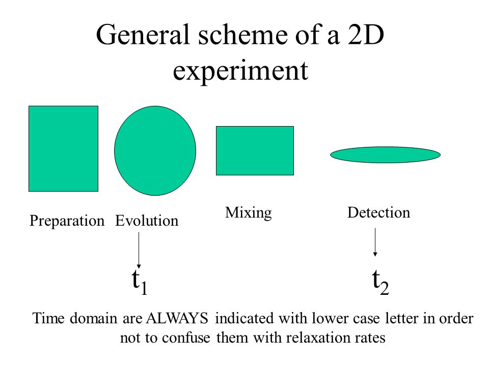 General scheme of a 2D experiment PreparationEvolution MixingDetection t1t1 t2t2 Time domain are ALWAYS indicated with lower case letter in order not to confuse them with relaxation rates