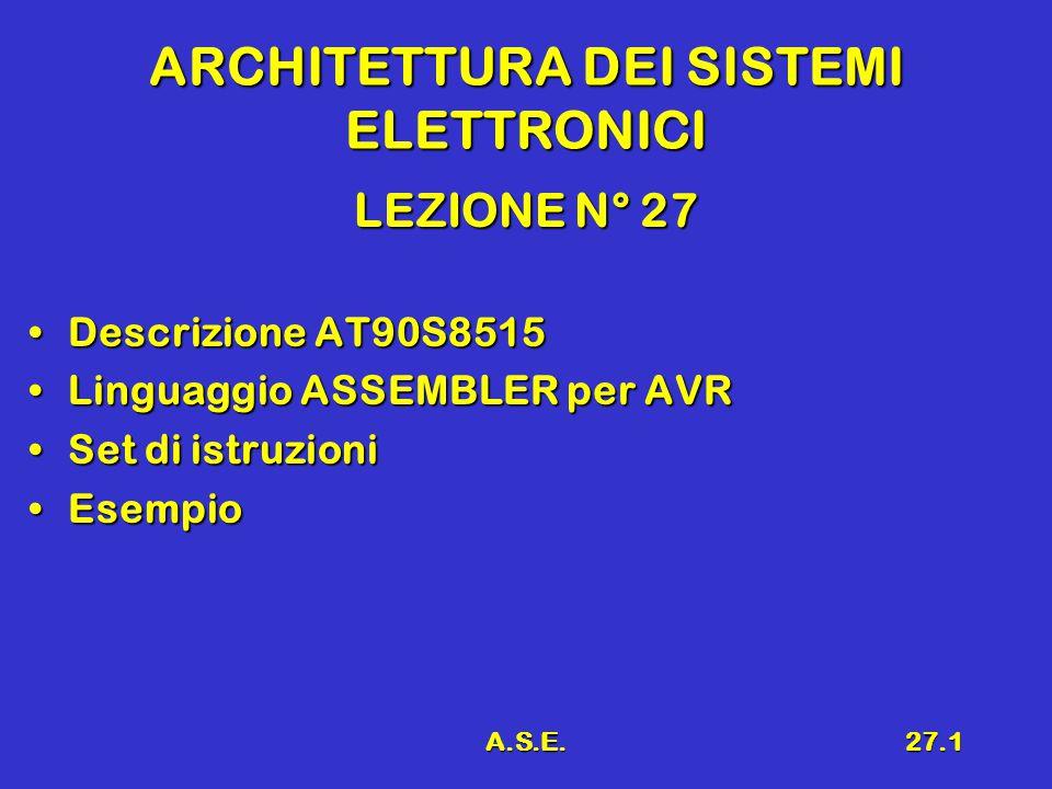 A.S.E.27.1 ARCHITETTURA DEI SISTEMI ELETTRONICI LEZIONE N° 27 Descrizione AT90S8515Descrizione AT90S8515 Linguaggio ASSEMBLER per AVRLinguaggio ASSEMBLER per AVR Set di istruzioniSet di istruzioni EsempioEsempio