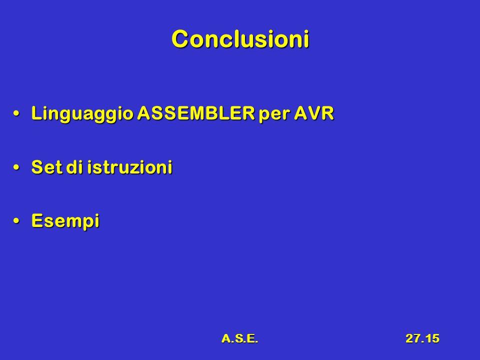 A.S.E.27.15 Conclusioni Linguaggio ASSEMBLER per AVRLinguaggio ASSEMBLER per AVR Set di istruzioniSet di istruzioni EsempiEsempi