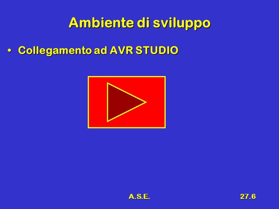 A.S.E.27.6 Ambiente di sviluppo Collegamento ad AVR STUDIOCollegamento ad AVR STUDIO