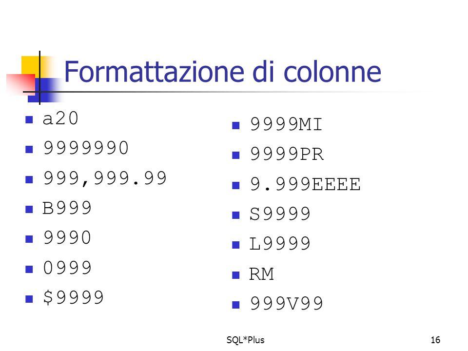SQL*Plus16 Formattazione di colonne a20 9999990 999,999.99 B999 9990 0999 $9999 9999MI 9999PR 9.999EEEE S9999 L9999 RM 999V99