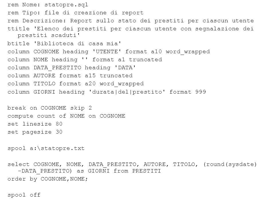 SQL*Plus23 Variabili di sistema (2) SQL> define DEFINE _SQLPLUS_RELEASE = 800060000 (CHAR) DEFINE _EDITOR = Notepad (CHAR) DEFINE _O_VERSION = Oracle8 Personal Edition Release 8.0.6.0.0 - Production PL/SQL Release 8.0.6.0.0 - Production (CHAR) DEFINE _O_RELEASE = 800060000 (CHAR)