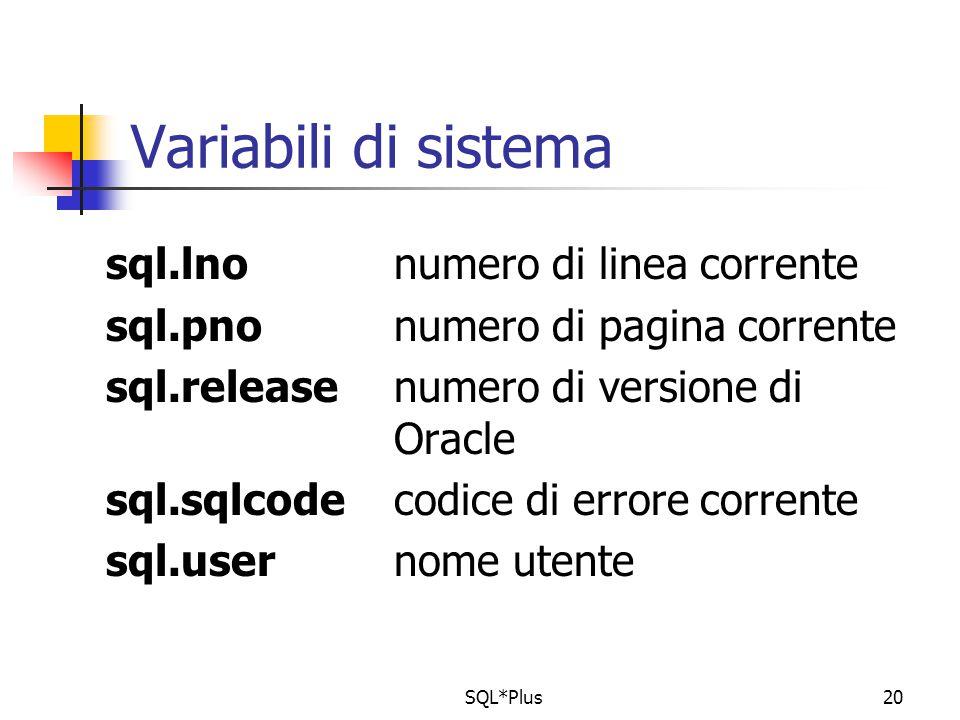 SQL*Plus20 Variabili di sistema sql.lnonumero di linea corrente sql.pnonumero di pagina corrente sql.releasenumero di versione di Oracle sql.sqlcodecodice di errore corrente sql.usernome utente