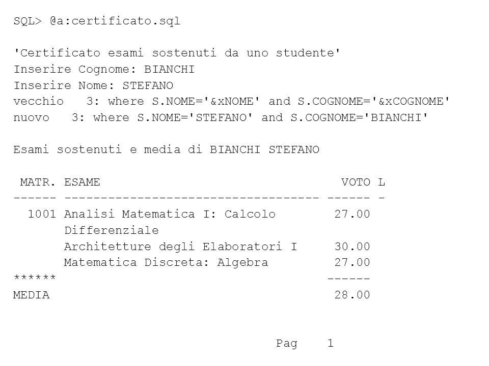 SQL> @a:certificato.sql Certificato esami sostenuti da uno studente Inserire Cognome: BIANCHI Inserire Nome: STEFANO vecchio 3: where S.NOME= &xNOME and S.COGNOME= &xCOGNOME nuovo 3: where S.NOME= STEFANO and S.COGNOME= BIANCHI Esami sostenuti e media di BIANCHI STEFANO MATR.