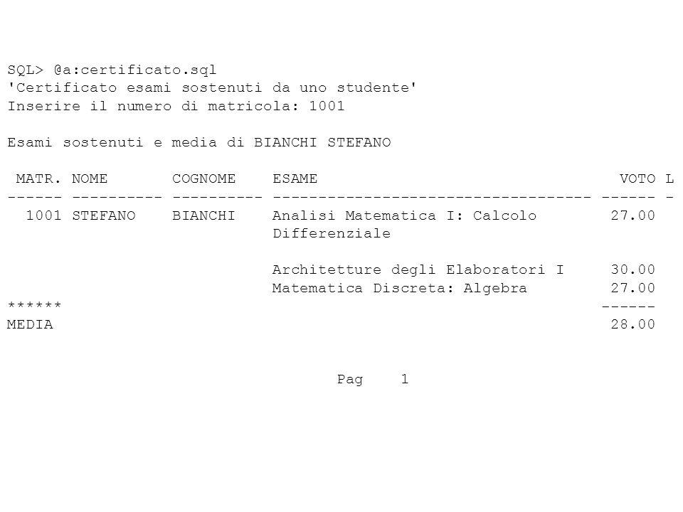 SQL> @a:certificato.sql Certificato esami sostenuti da uno studente Inserire il numero di matricola: 1001 Esami sostenuti e media di BIANCHI STEFANO MATR.