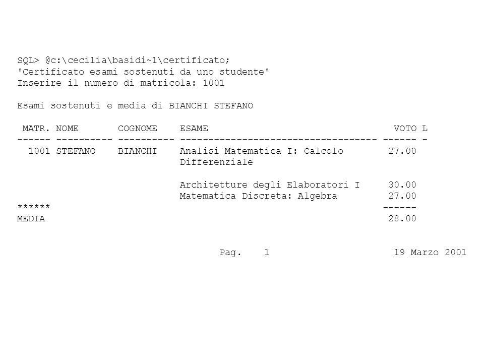 SQL> @c:\cecilia\basidi~1\certificato; Certificato esami sostenuti da uno studente Inserire il numero di matricola: 1001 Esami sostenuti e media di BIANCHI STEFANO MATR.