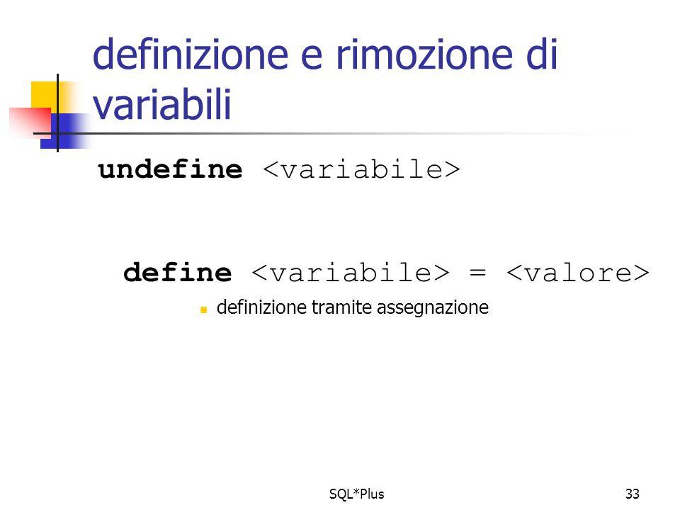 SQL*Plus33 definizione e rimozione di variabili undefine define = definizione tramite assegnazione