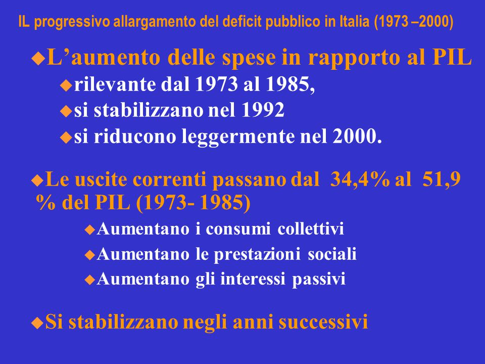 IL progressivo allargamento del deficit pubblico in Italia (1973 –2000)  L'aumento delle spese in rapporto al PIL u rilevante dal 1973 al 1985, u si stabilizzano nel 1992 u si riducono leggermente nel 2000.