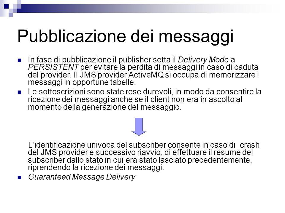 Pubblicazione dei messaggi In fase di pubblicazione il publisher setta il Delivery Mode a PERSISTENT per evitare la perdita di messaggi in caso di caduta del provider.