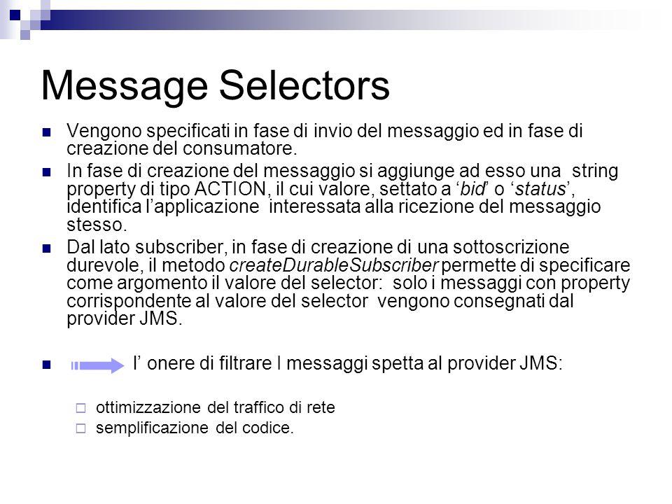 Message Selectors Vengono specificati in fase di invio del messaggio ed in fase di creazione del consumatore.