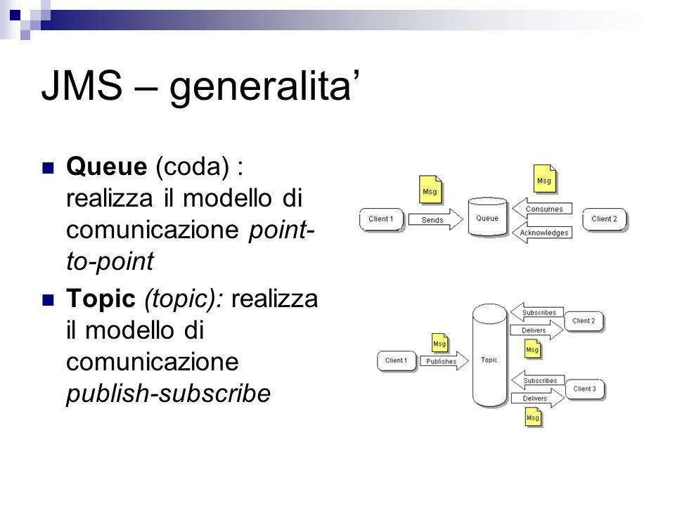 JMS – generalita' Queue (coda) : realizza il modello di comunicazione point- to-point Topic (topic): realizza il modello di comunicazione publish-subscribe