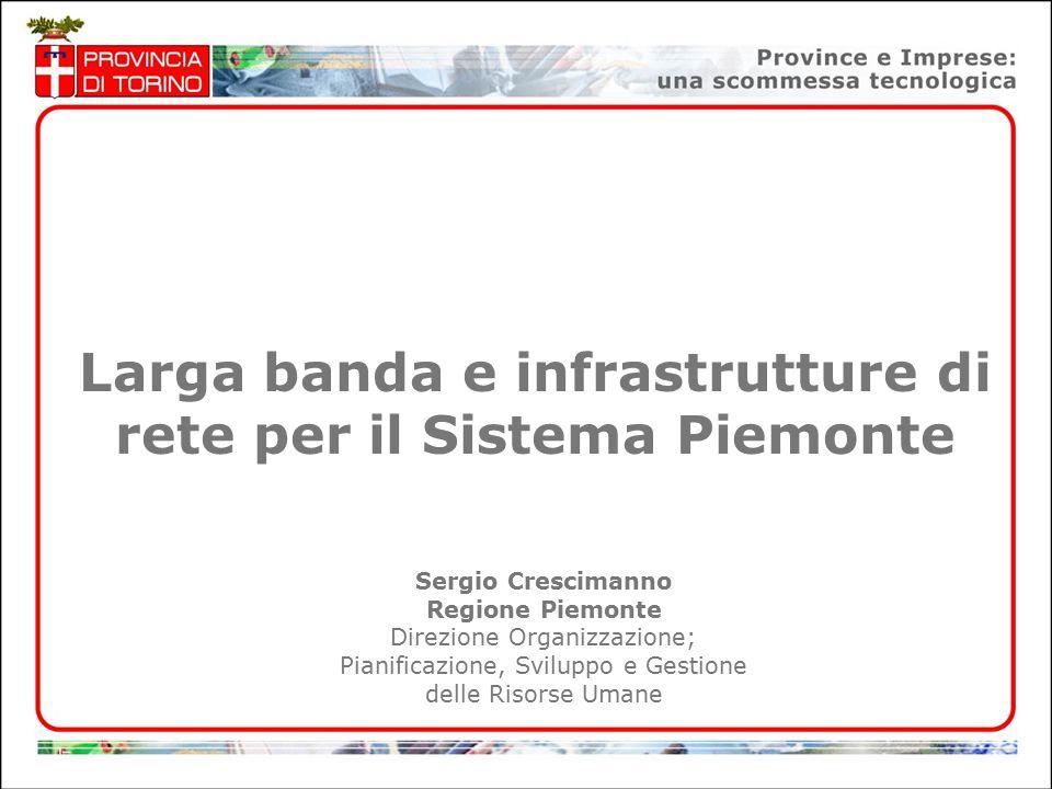 1 Larga banda e infrastrutture di rete per il Sistema Piemonte Sergio Crescimanno Regione Piemonte Direzione Organizzazione; Pianificazione, Sviluppo e Gestione delle Risorse Umane