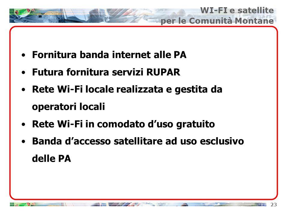 23 Fornitura banda internet alle PA Futura fornitura servizi RUPAR Rete Wi-Fi locale realizzata e gestita da operatori locali Rete Wi-Fi in comodato d'uso gratuito Banda d'accesso satellitare ad uso esclusivo delle PA WI-FI e satellite per le Comunità Montane