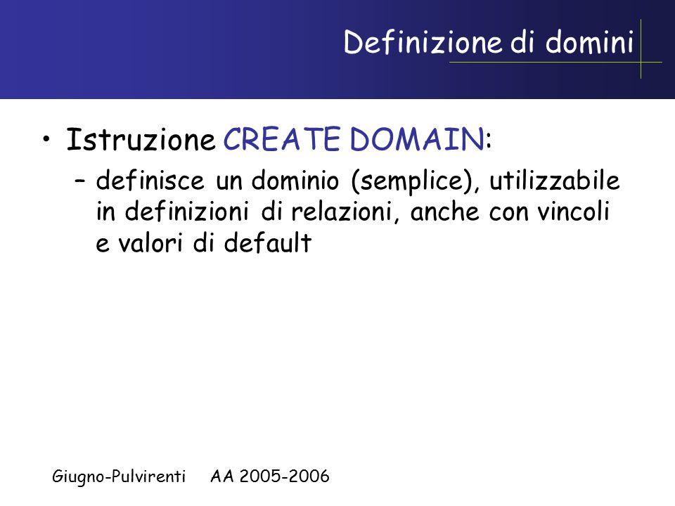 Giugno-Pulvirenti AA 2005-2006 Definizione di domini Istruzione CREATE DOMAIN: –definisce un dominio (semplice), utilizzabile in definizioni di relazioni, anche con vincoli e valori di default