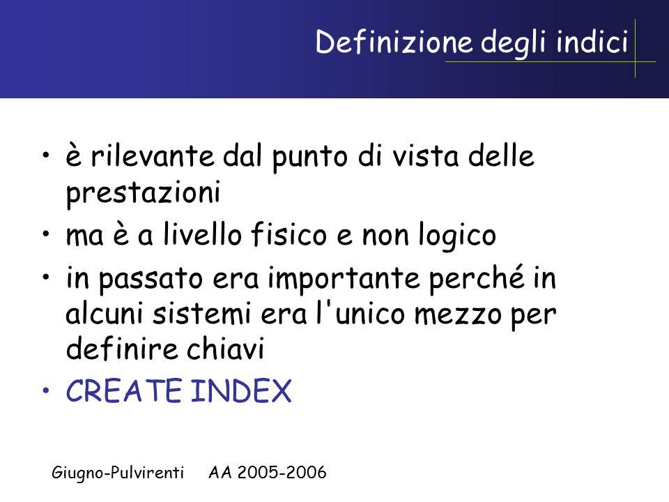 Giugno-Pulvirenti AA 2005-2006 Definizione degli indici è rilevante dal punto di vista delle prestazioni ma è a livello fisico e non logico in passato era importante perché in alcuni sistemi era l unico mezzo per definire chiavi CREATE INDEX