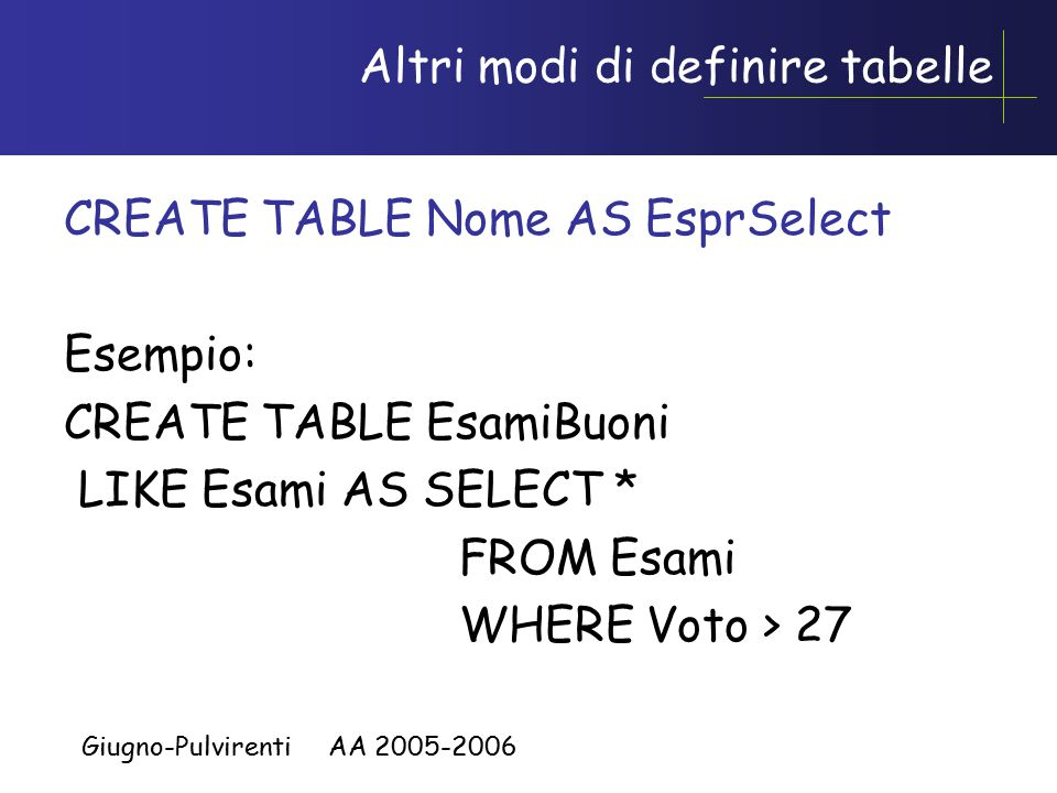 Giugno-Pulvirenti AA 2005-2006 Altri modi di definire tabelle CREATE TABLE Nome AS EsprSelect Esempio: CREATE TABLE EsamiBuoni LIKE Esami AS SELECT * FROM Esami WHERE Voto > 27