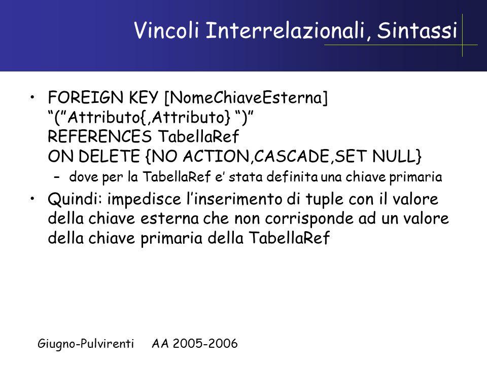 Giugno-Pulvirenti AA 2005-2006 Vincoli Interrelazionali, Sintassi FOREIGN KEY [NomeChiaveEsterna] ( Attributo{,Attributo} ) REFERENCES TabellaRef ON DELETE {NO ACTION,CASCADE,SET NULL} –dove per la TabellaRef e' stata definita una chiave primaria Quindi: impedisce l'inserimento di tuple con il valore della chiave esterna che non corrisponde ad un valore della chiave primaria della TabellaRef
