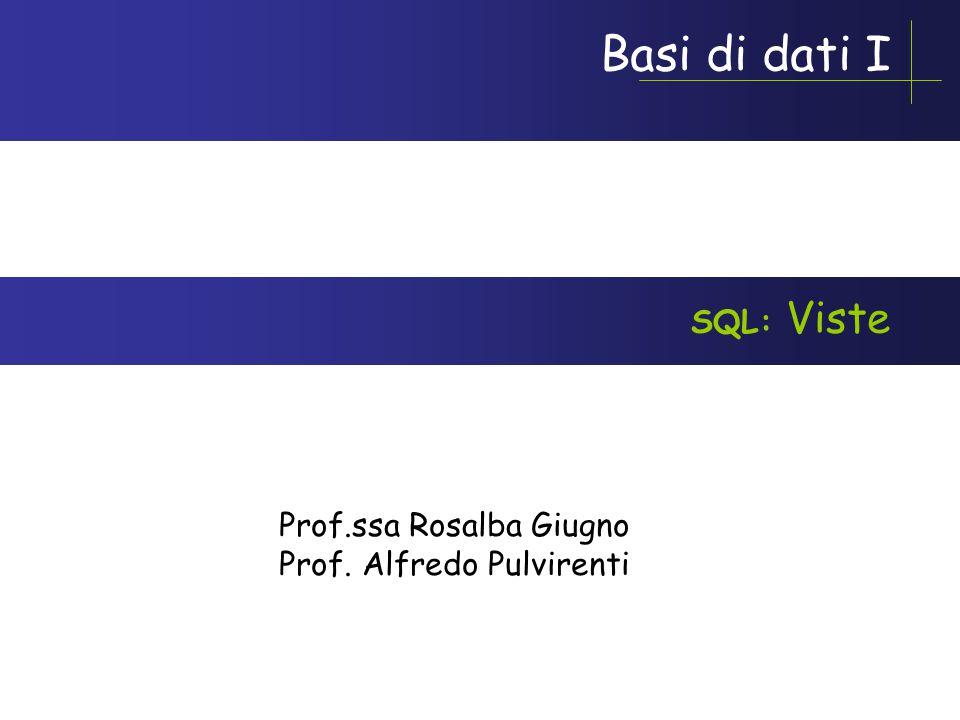 Basi di dati I Prof.ssa Rosalba Giugno Prof. Alfredo Pulvirenti SQL: Viste