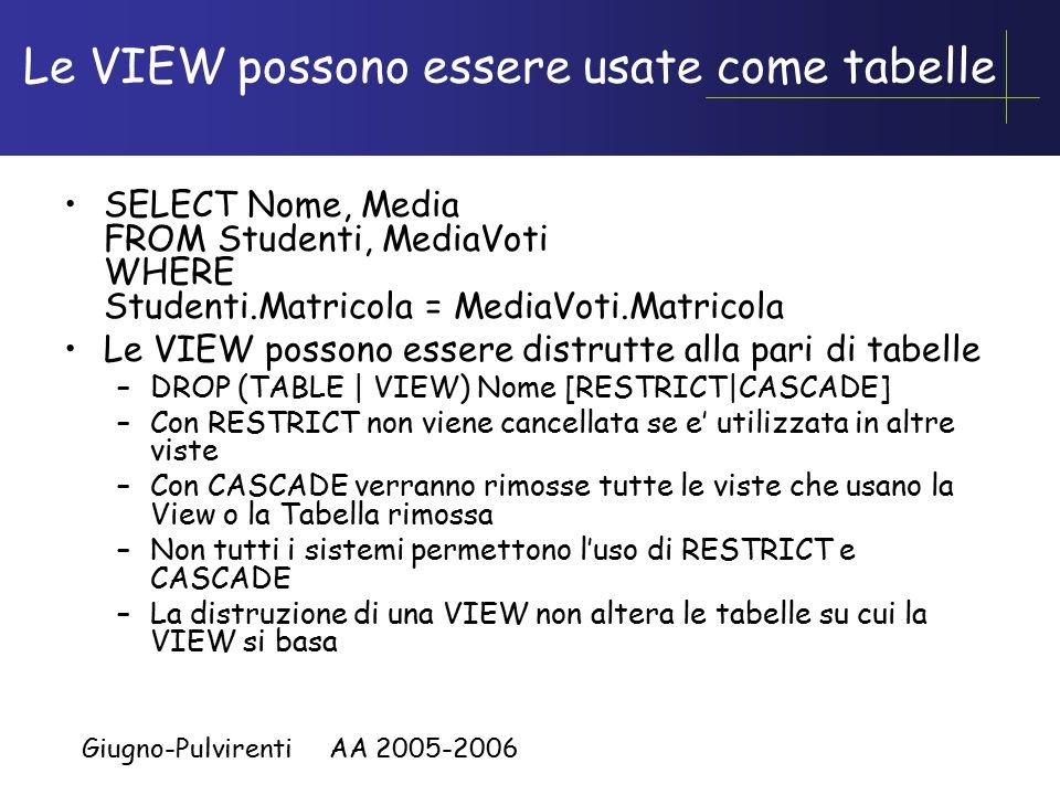 Giugno-Pulvirenti AA 2005-2006 Le VIEW possono essere usate come tabelle SELECT Nome, Media FROM Studenti, MediaVoti WHERE Studenti.Matricola = MediaVoti.Matricola Le VIEW possono essere distrutte alla pari di tabelle –DROP (TABLE | VIEW) Nome [RESTRICT|CASCADE] –Con RESTRICT non viene cancellata se e' utilizzata in altre viste –Con CASCADE verranno rimosse tutte le viste che usano la View o la Tabella rimossa –Non tutti i sistemi permettono l'uso di RESTRICT e CASCADE –La distruzione di una VIEW non altera le tabelle su cui la VIEW si basa