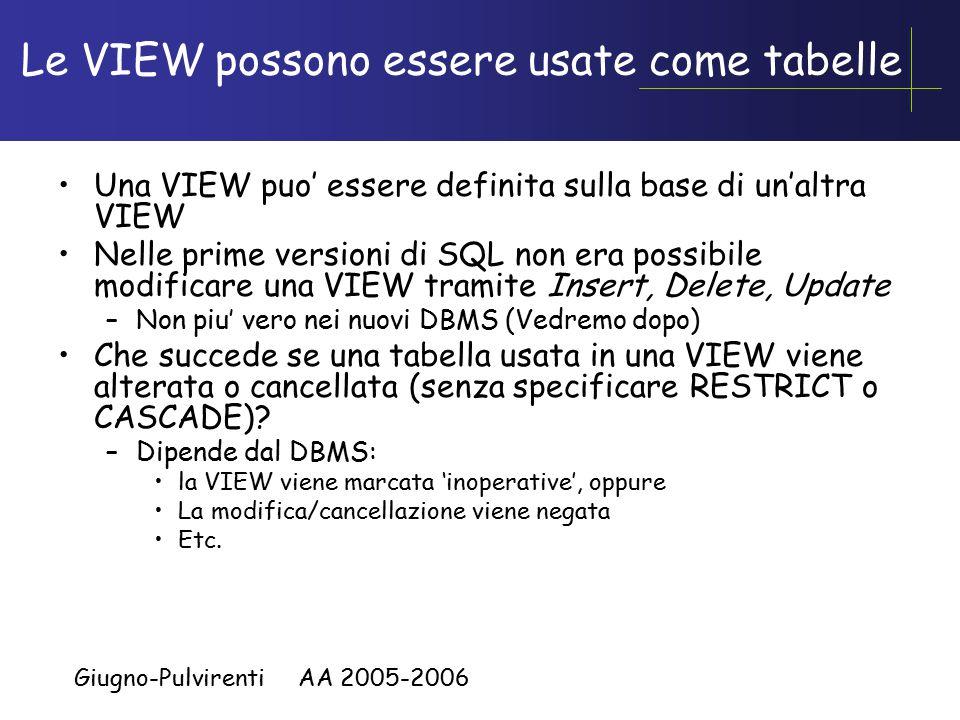 Giugno-Pulvirenti AA 2005-2006 Le VIEW possono essere usate come tabelle Una VIEW puo' essere definita sulla base di un'altra VIEW Nelle prime versioni di SQL non era possibile modificare una VIEW tramite Insert, Delete, Update –Non piu' vero nei nuovi DBMS (Vedremo dopo) Che succede se una tabella usata in una VIEW viene alterata o cancellata (senza specificare RESTRICT o CASCADE).