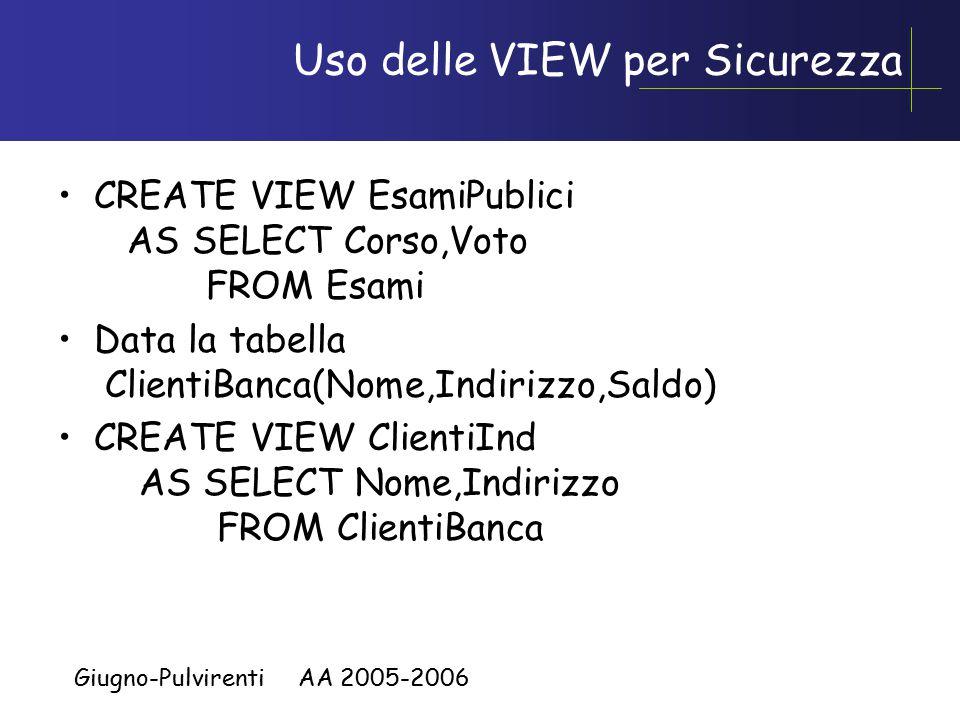 Giugno-Pulvirenti AA 2005-2006 Uso delle VIEW per Sicurezza CREATE VIEW EsamiPublici AS SELECT Corso,Voto FROM Esami Data la tabella ClientiBanca(Nome,Indirizzo,Saldo) CREATE VIEW ClientiInd AS SELECT Nome,Indirizzo FROM ClientiBanca
