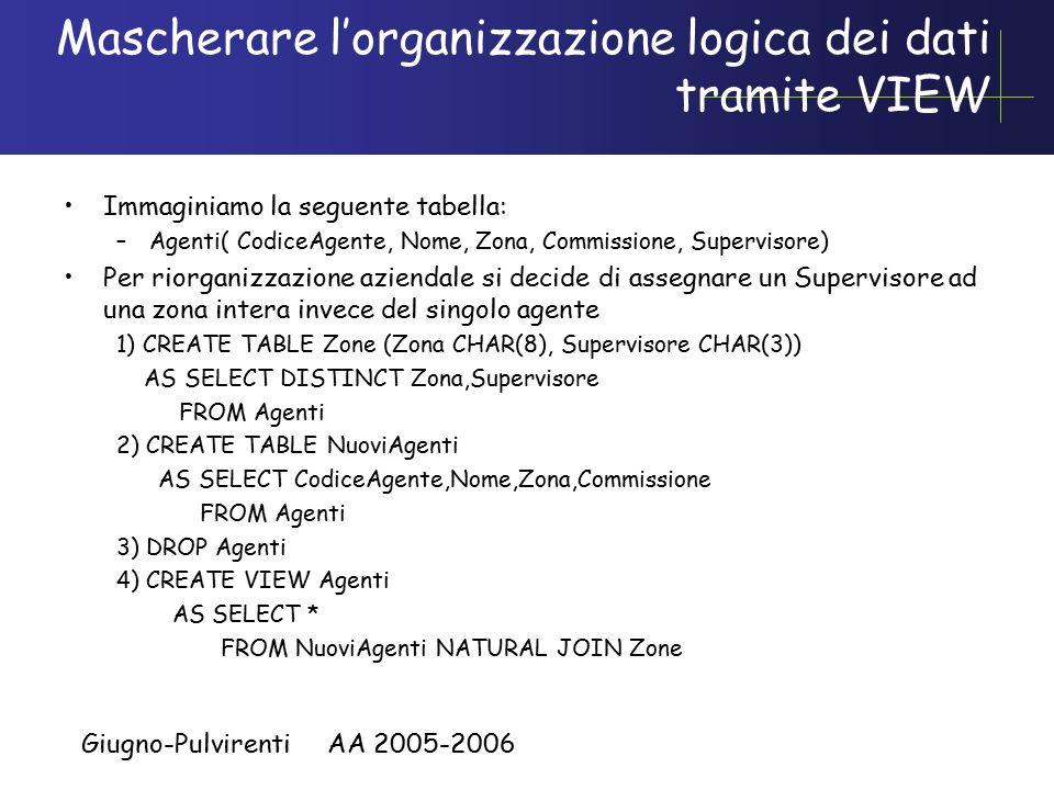 Giugno-Pulvirenti AA 2005-2006 Mascherare l'organizzazione logica dei dati tramite VIEW Immaginiamo la seguente tabella: –Agenti( CodiceAgente, Nome, Zona, Commissione, Supervisore) Per riorganizzazione aziendale si decide di assegnare un Supervisore ad una zona intera invece del singolo agente 1) CREATE TABLE Zone (Zona CHAR(8), Supervisore CHAR(3)) AS SELECT DISTINCT Zona,Supervisore FROM Agenti 2) CREATE TABLE NuoviAgenti AS SELECT CodiceAgente,Nome,Zona,Commissione FROM Agenti 3) DROP Agenti 4) CREATE VIEW Agenti AS SELECT * FROM NuoviAgenti NATURAL JOIN Zone