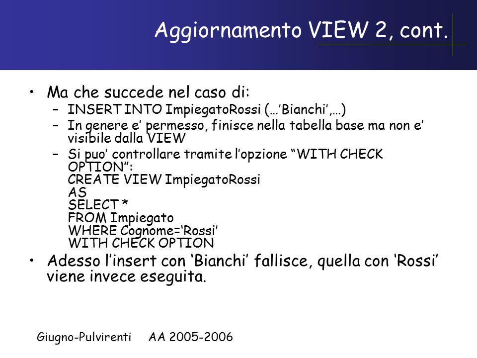 Giugno-Pulvirenti AA 2005-2006 Aggiornamento VIEW 2, cont. Ma che succede nel caso di: –INSERT INTO ImpiegatoRossi (…'Bianchi',…) –In genere e' permes