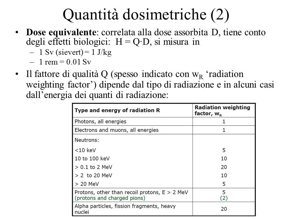 Quantità dosimetriche (2) Dose equivalente: correlata alla dose assorbita D, tiene conto degli effetti biologici: H = Q·D, si misura in –1 Sv (sievert