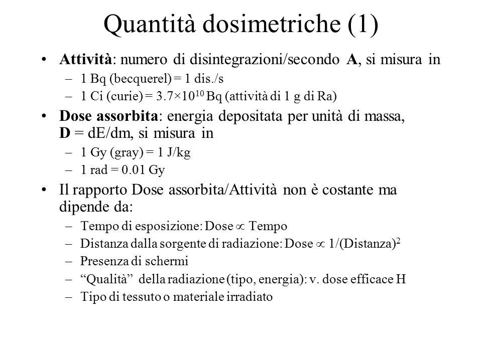 Quantità dosimetriche (1) Attività: numero di disintegrazioni/secondo A, si misura in –1 Bq (becquerel) = 1 dis./s –1 Ci (curie) = 3.7×10 10 Bq (attiv