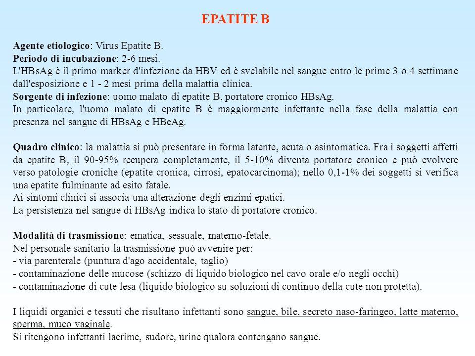 EPATITE B Agente etiologico: Virus Epatite B. Periodo di incubazione: 2-6 mesi. L'HBsAg è il primo marker d'infezione da HBV ed è svelabile nel sangue