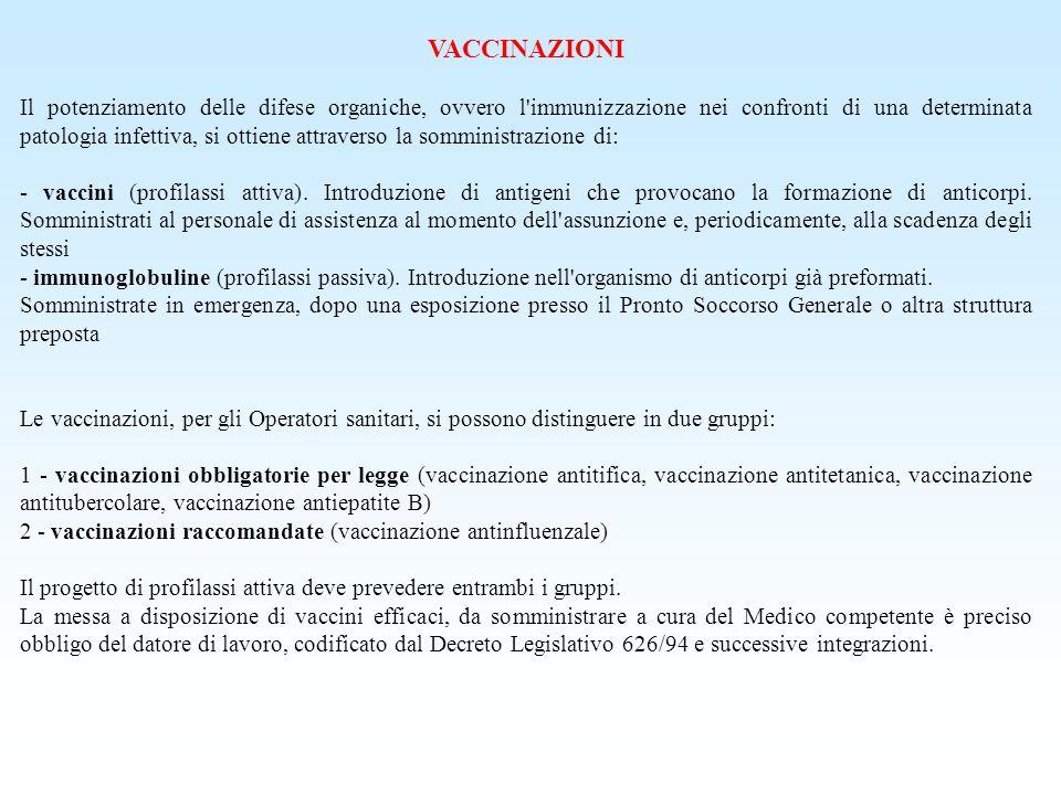 VACCINAZIONI Il potenziamento delle difese organiche, ovvero l'immunizzazione nei confronti di una determinata patologia infettiva, si ottiene attrave