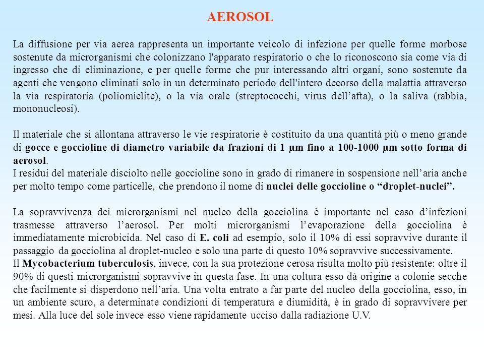 AEROSOL La diffusione per via aerea rappresenta un importante veicolo di infezione per quelle forme morbose sostenute da microrganismi che colonizzano