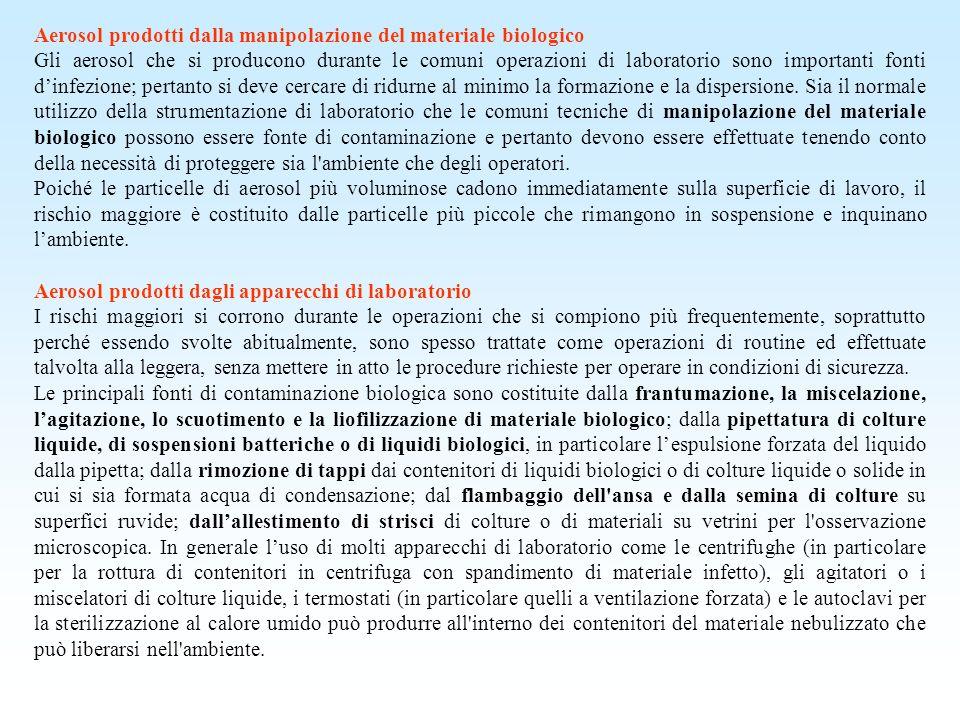 Aerosol prodotti dalla manipolazione del materiale biologico Gli aerosol che si producono durante le comuni operazioni di laboratorio sono importanti