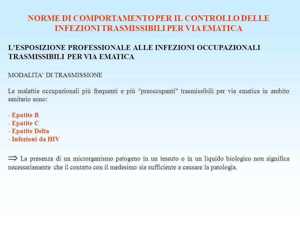 NORME DI COMPORTAMENTO PER IL CONTROLLO DELLE INFEZIONI TRASMISSIBILI PER VIA EMATICA L'ESPOSIZIONE PROFESSIONALE ALLE INFEZIONI OCCUPAZIONALI TRASMIS