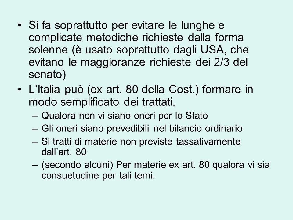 Si fa soprattutto per evitare le lunghe e complicate metodiche richieste dalla forma solenne (è usato soprattutto dagli USA, che evitano le maggioranze richieste dei 2/3 del senato) L'Italia può (ex art.